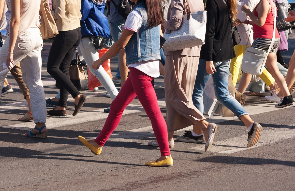 pedestrians crossing the street
